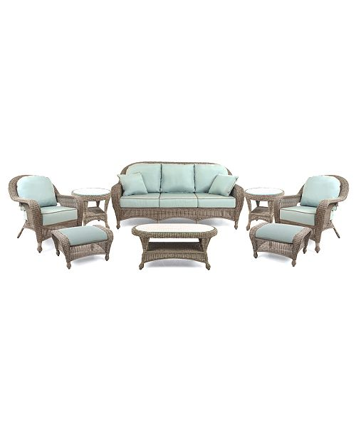 Outstanding Sandy Cove Outdoor Wicker 8 Pc Seating Set 1 Sofa 2 Club Chairs 2 Ottomans 1 Coffee Table And 2 End Tables Created For Macys Cjindustries Chair Design For Home Cjindustriesco
