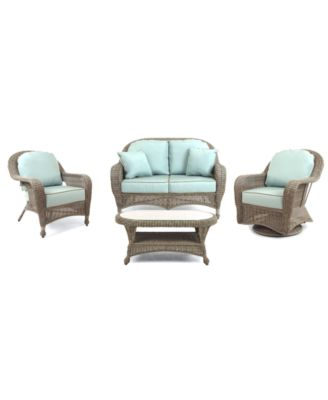 Sandy Cove Outdoor Wicker 4-Pc. Seating Set (1 Loveseat, 1 Club Chair, 1 Swivel Glider and 1 Coffee Table), Created for Macy's