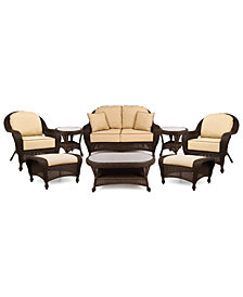 Monterey Outdoor Wicker 8-Pc. Seating Set with Sunbrella® Cushions  (1 Loveseat, 2 Club Chairs, 2 Ottomans, 1 Coffee Table and 2 End Tables), Created for Macy's