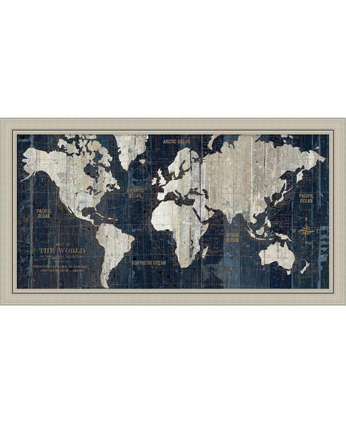 Amanti Art - Old World Map Blue 43x24 Framed Art Print