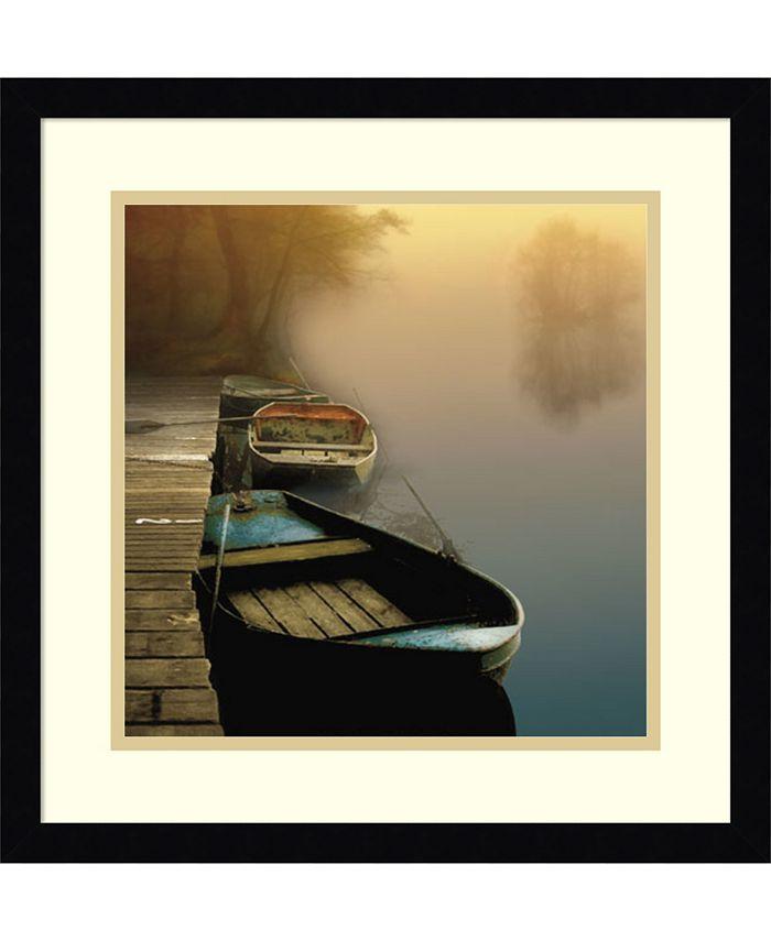 Amanti Art - Misty Boats 17x17 Framed Art Print