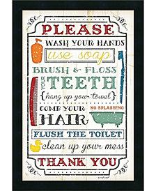 Amanti Art Bathroom Rules  Framed Art Print