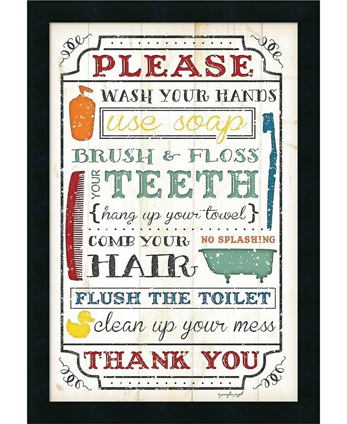 Amanti Art - Bathroom Rules 18x26 Framed Art Print