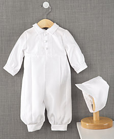Lauren Madison Baby Boys Full Length Christening Romper with Matching Hat