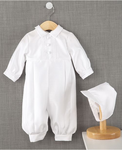 154d7409 Lauren Madison Baby Boys Full Length Christening Romper with Matching Hat