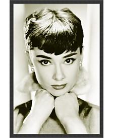 Amanti Art Audrey Hepburn - Sepia- Framed Art Print