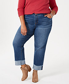 Style & Co Cotton Plus Size Boyfriend Jeans, Created for Macy's
