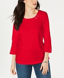 Karen Scott Cotton Grommet Lace-Up Top, Created by Macy's