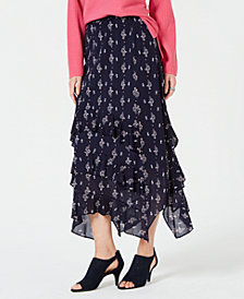 Style & Co Printed Tiered-Ruffle Maxi Skirt, Created for Macy's