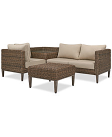 La Palma Outdoor 4-Pc. Sectional Seating Set (1 Left-Arm Loveseat Sectional, 1 Corner Table With Arm, 1 Corner Sectional And 1 Coffee Table), Created For Macy's