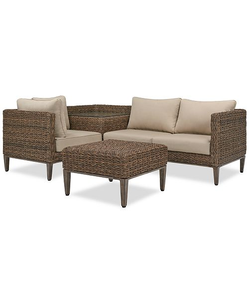 La Palma Outdoor 4-Pc. Sectional Seating Set (1 Left-Arm Loveseat  Sectional, 1 Corner Table With Arm, 1 Corner Sectional And 1 Coffee Table),  Created ...