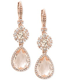 Rose Gold-Tone Crystal Double Drop Earrings