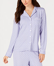Charter Club Plus Size Notch-Collar Knit Pajama Top, Created for Macy's