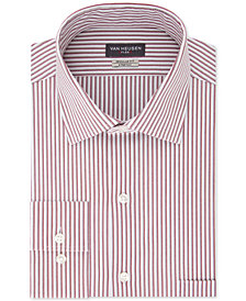 Van Heusen Men's Classic/Regular-Fit Performance Stretch Wrinkle-Free Flex-Collar Red Stripe Dress Shirt