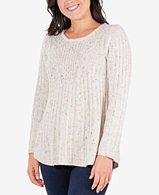 NY Collection Speckled Cable-Knit Tunic Sweater