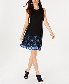 Style & Co Petite Border-Print Swing Dress, Created for Macy's