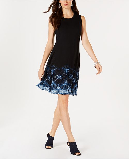 Style & Co Printed Hem A-Line Dress, Created for Macy's