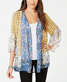 Style & Co Printed Open-Front Kimono, Created for Macy's