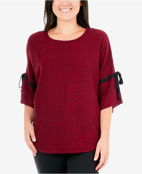 NY Collection Marled Tie-Sleeve Sweater