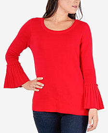 NY Collection Pleated-Cuff Bell-Sleeve Sweater