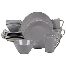 Certified International Harmony Solid Color - Light Grey 16-Pc. Dinnerware Set