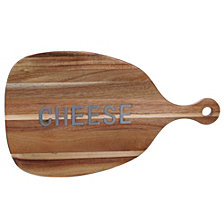Certified International Acacia Wood Cheese Paddle Board with Metal Word