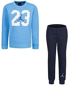 Jordan Little Boys 2-Pc. Textured 23-Print Fleece Top & Pants Set