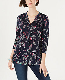 Charter Club Plus Size Paisley-Print Top, Created for Macy's