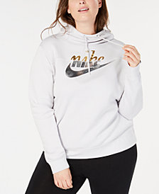 Nike Plus Size Sportswear Rally Fleece Metallic-Logo Hoodie