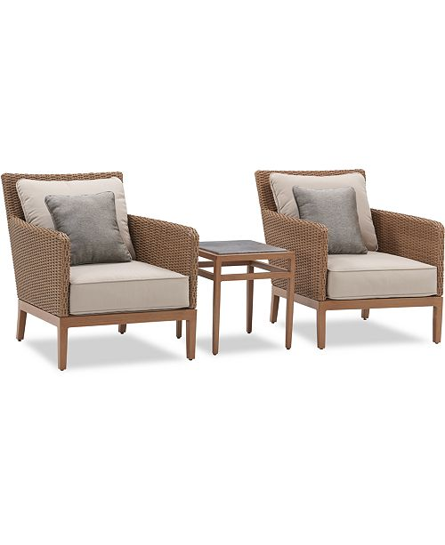 Furniture San Lazzaro Outdoor Woven 3-Pc. Seating Set (2 Chairs And 1 Accent End Table), Created For Macy's
