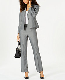 Le Suit Petite Two-Button Striped Pantsuit