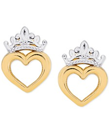 Children's Tiara Heart Stud Earrings in 14k Gold
