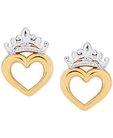 Disney© Children's Tiara Heart Stud Earrings in 14k Gold
