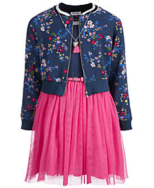 Beautees Big Girls 2-Pc. Floral-Print Bomber Jacket & Mesh Dress Set