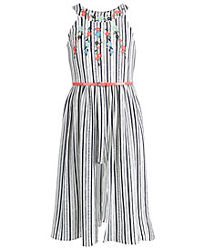 Beautees Big Girls Embroidered Maxi-Overlay Romper