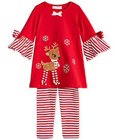 Bonnie Jean Toddler Girls 2-Pc. Reindeer Tunic & Striped Leggings Set