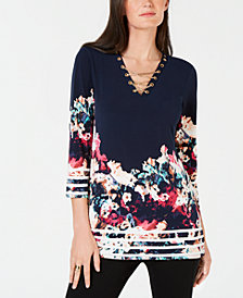 JM Collection Petite Chain Lace Up Embellished Tunic, Created for Macy's