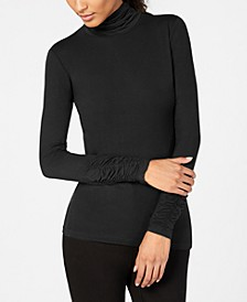 Petite Ruched-Sleeve Mock-Neck Top, Created For Macy's