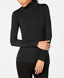 Alfani Long-Sleeve Ruched Turtleneck Top, Created for Macy's