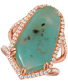 Le Vian® Turquoise Aquaprase (25 x 13mm) & White Topaz (5/8 ct. t.w.) Ring in 14k Rose Gold, Created for Macy's