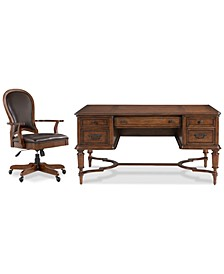 Clinton Hill Cherry Home Office, 2-Pc. Set (Writing Desk & Leather Desk Chair)