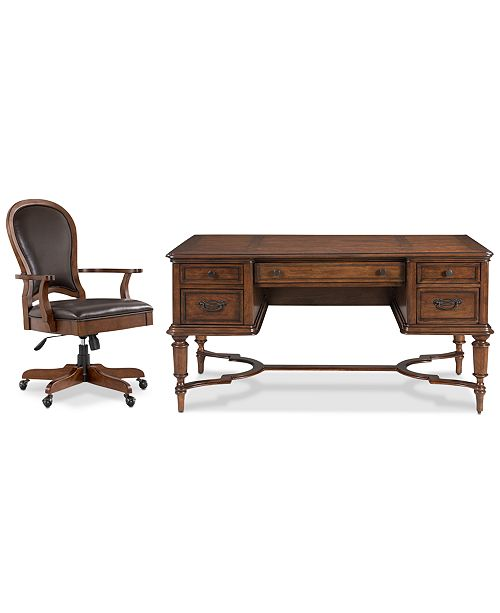 Furniture Clinton Hill Cherry Home Office, 2-Pc. Set (Writing Desk & Leather Desk Chair), Created for Macy's