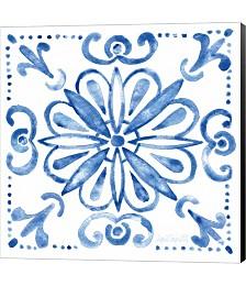 Tile Stencil IV Blue by Katie Pertiet Canvas Art