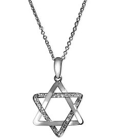 EFFY Diamond Diamond Star of David Necklace (1/8 ct. t.w.) in 14k White Gold