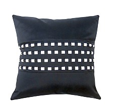 Edie@Home Woven Cord Outdoor Pillow, Navy 18X18
