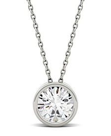 Moissanite Bezel Solitaire Pendant (1 ct. t.w. Diamond Equivalent) in 14k White or Yellow Gold