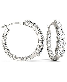 Moissanite Graduated Hoop Earrings (3-9/10 ct. tw.) in 14k White Gold