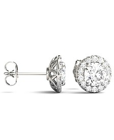 Moissanite Round Halo Earrings (2 ct. tw. Diamond Equivalent) in 14k White Gold
