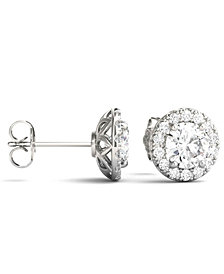Moissanite Round Halo Earrings (2 ct. tw.) in 14k White Gold