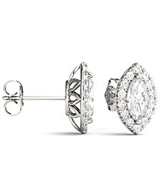 Moissanite Marquise Halo Earrings (1-3/8 ct. tw.) in 14k White Gold